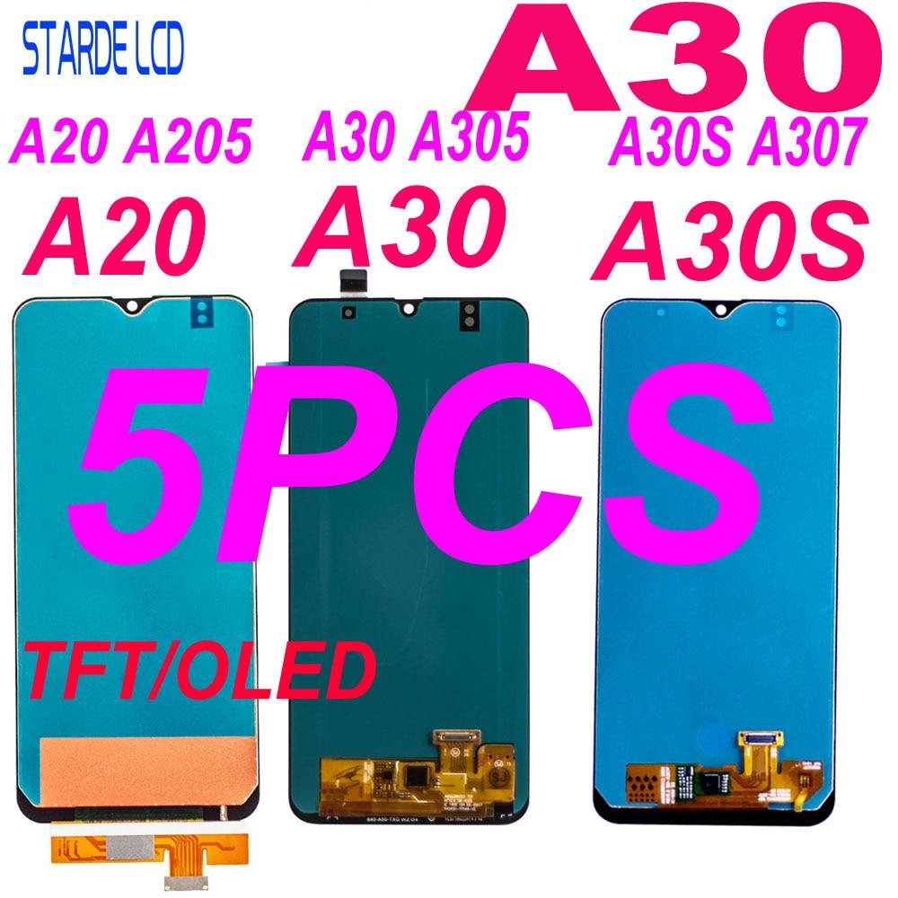 5 Pcs LCD For Samsung A20 A205 SM-A205F Display A30 A305/DS A305F A305FD A305A A30S A307 A307F Touch Screen Digitizer Assembly