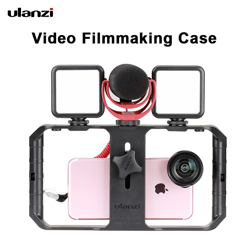 Ulanzi U Rig Pro Smartphone Video Rig With 3 Mounts Video Recording Cell Phone Stabilizer Filmmaking Case Filming Accessories ulanzi u rig pro phone video stabilizer grip tripod mount stand handheld smartphone video rig filmmaking case for iphone