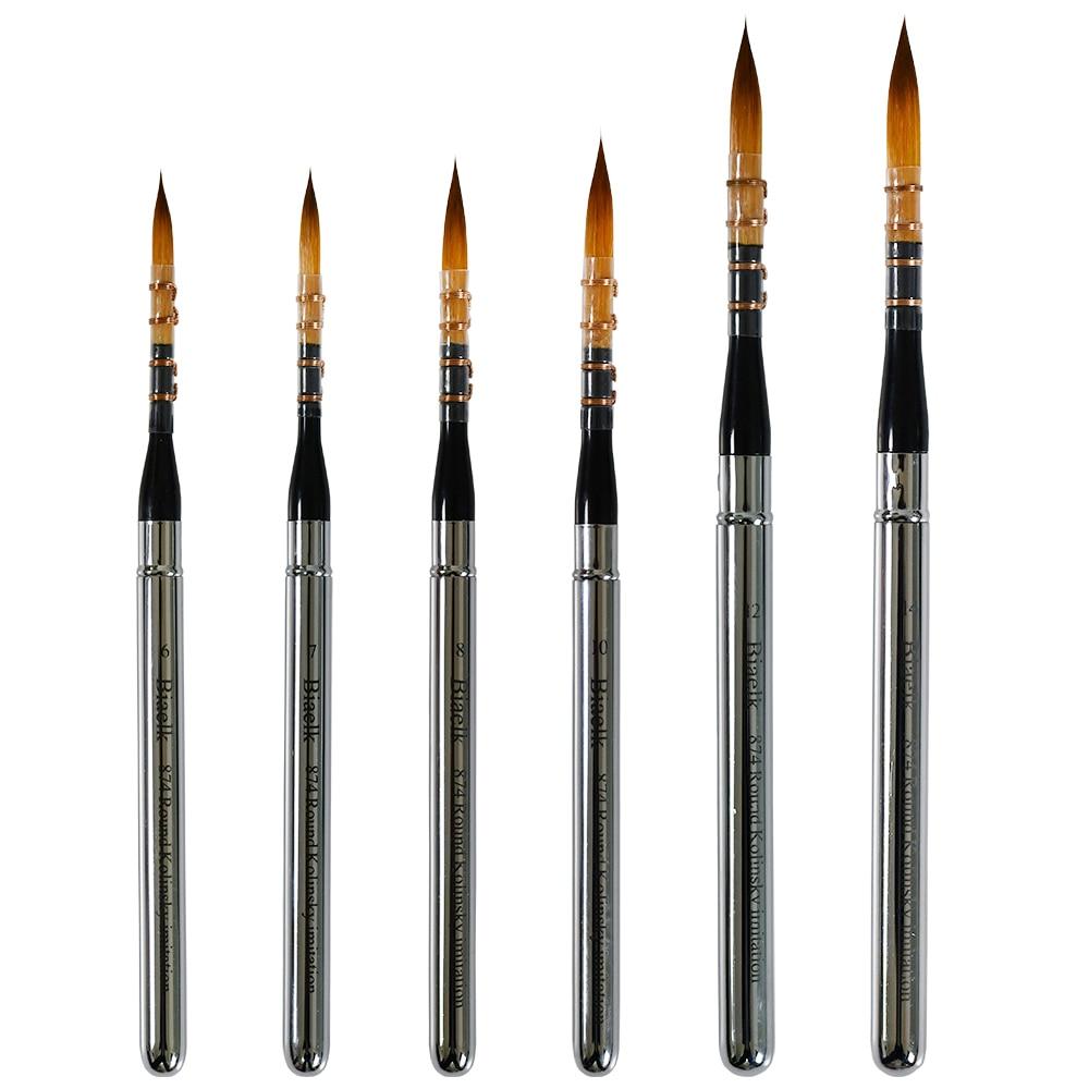 High Quality 1PC 874Round Kolinsky Imitation Hair Rinsin Handle Watercolor Acrylic Artist Art Tool Supplies Paint Brush