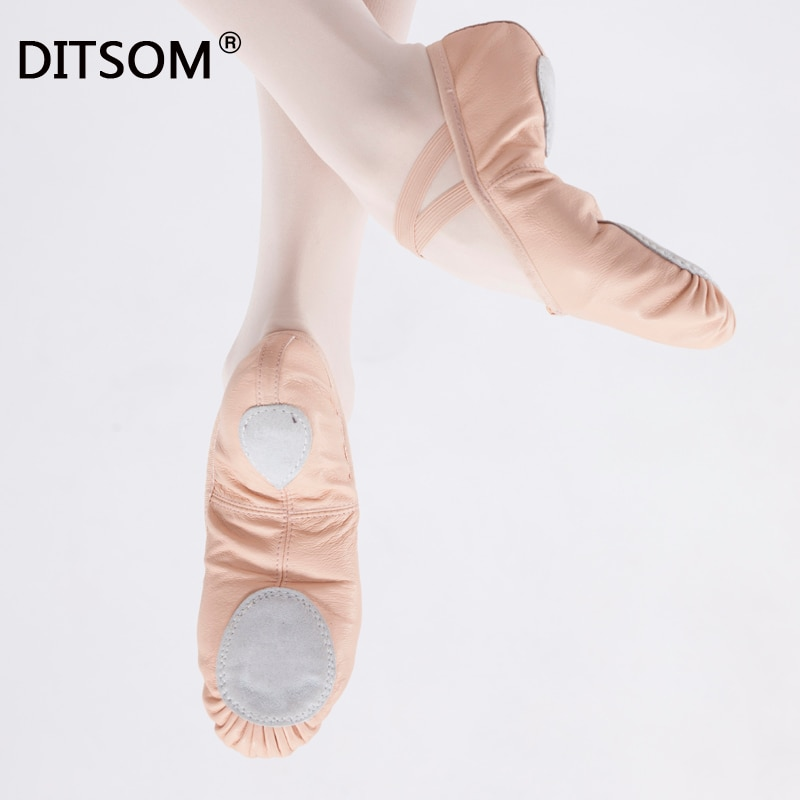 Genuine Leather Ballet Dance Shoes For Girls Light Pink Full Sole Split Soles Ballet Slippers Yoga Fitness Shoes For Kids Child