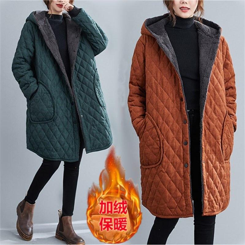 Зимняя куртка Chaqueta размера плюс повседневная одежда с хлопковой подкладкой стеганое бархатное утепленное мягкое пальто с капюшоном Женская куртка y810