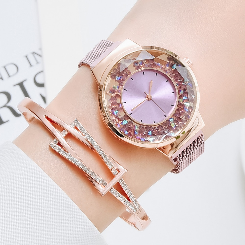 Fashion Watches For Women Ladies Quartz Magnet Buckle Movable Rhinestones Ladies Wristwatches Clock