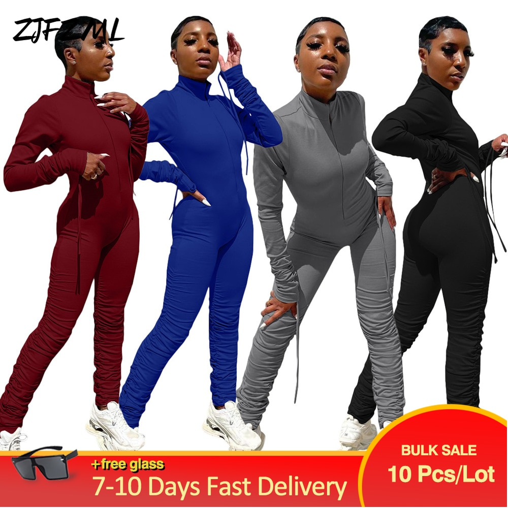 Bulk Items Wholesale Lots Pleated Rompers Womens Jumpsuit Casual Workout Drawstring Full Sleeve Romper Streetwear Bodycon Outfit
