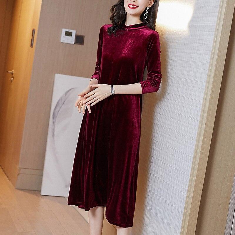 Plus tamanho inverno suporte collor vestido de veludo de manga longa, longo maxi autunm vestido de festa, M-8XL elegante vestido de veludo vintage