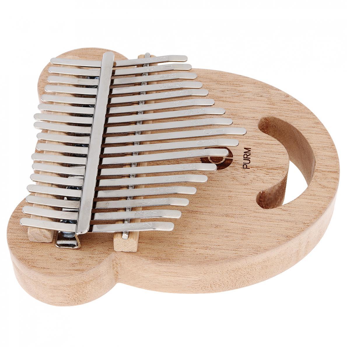 Thumb Piano 17 Key Mahogany Bear Face Shape Thumb Piano Kalimba Mbira with Tuning Hammer enlarge