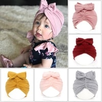 solid color baby hat with big bowknot on the top baby girl knot cat ears hat turban baby kids beanie newborn photography props