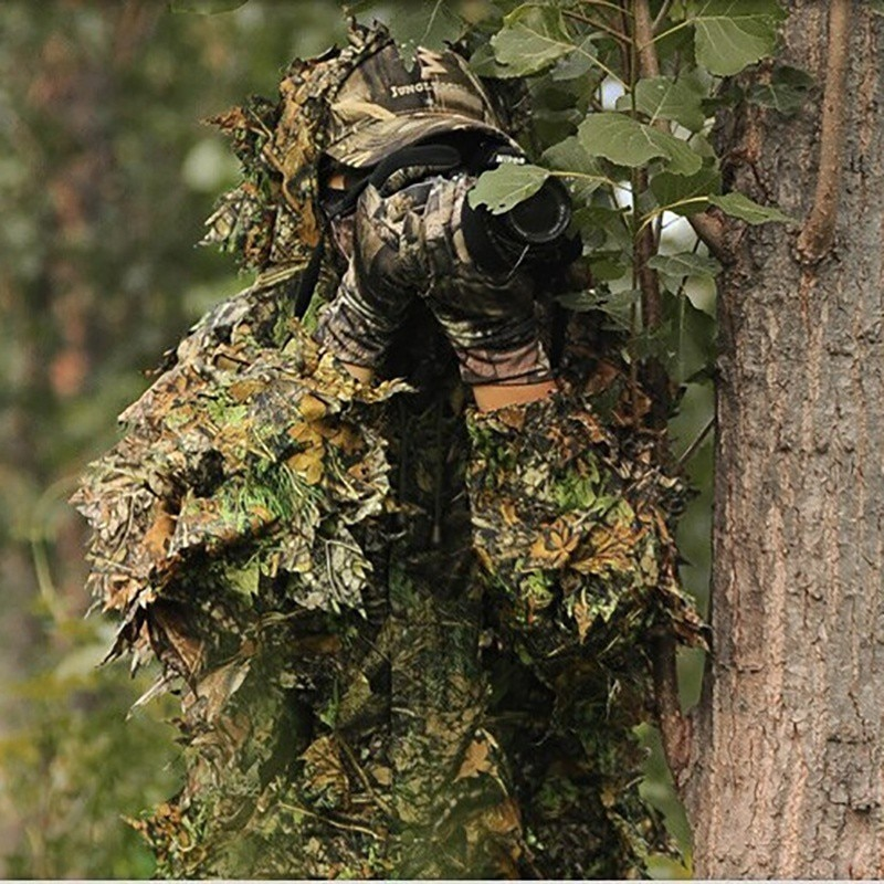 Ropa de caza traje 3D hojas de lino ligero transpirable de manga larga con capucha chaqueta Tops pantalones ropa de exterior para fotografía