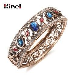 Kinel quente do vintage turco pulseiras de resina redonda manguito pulseiras para mulheres antigo cor do ouro jóias presente favorito das senhoras