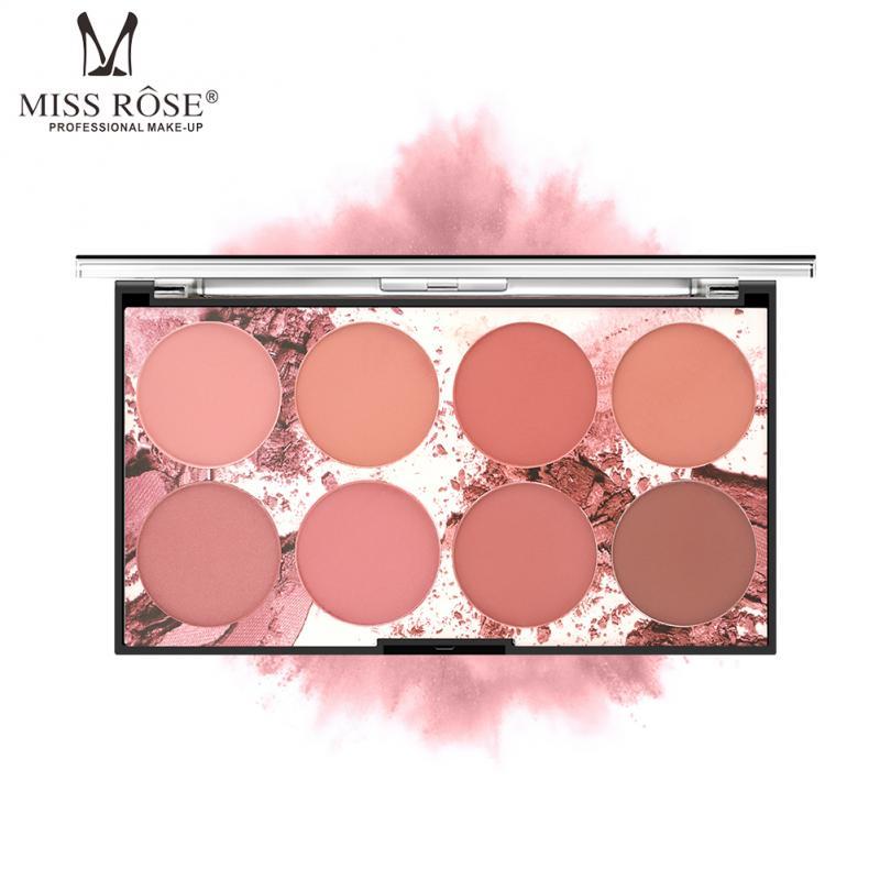 Blush MISS ROSE 8 Colors Face Mineral Pigment Blusher Powder Cosmestics Palette Cosmestics Professional Palette Blush Contour