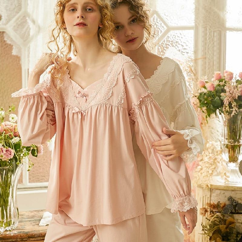 عالية الجودة الخريف القطن الأبيض المرأة منامة مجموعات الوردي/الأبيض الدانتيل Vintage كم طويل ملابس خاصة الدعاوى مريحة المنزل ارتداء