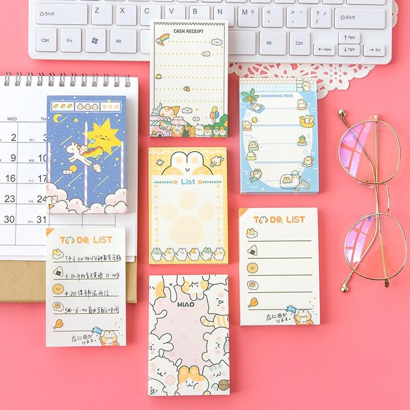 Bloc de notas Kawaii Post It, 100 hojas, precioso Bloc de notas de gato de dibujos animados, planificador diario, lista de balas, diario decorativo, papelería