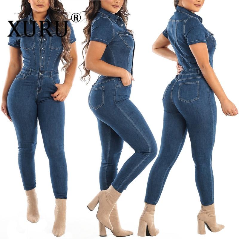 Хит продаж, женский джинсовый комбинезон xulu в европейском и американском стиле, Новинка лета 2020, женский сексуальный джинсовый комбинезон