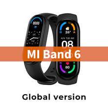 Смарт-браслет Xiaomi MiBand 6, фитнес-трекер с AMOLED экраном, с функцией измерения кислорода в крови, пульсометром, водонепроницаемый многоязычный с...