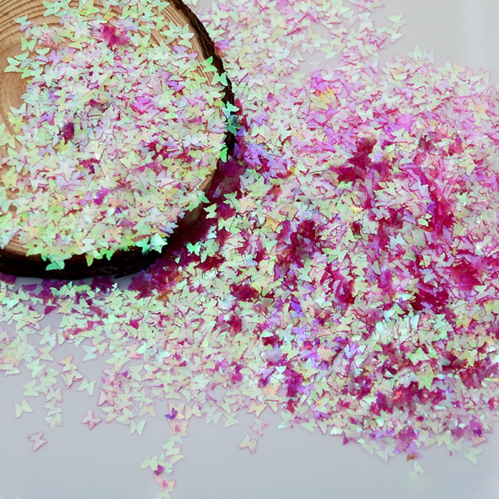 50 g/bolsa de lentejuelas de purpurina de uñas AB Color forma plana Paillette suelta 12 colores de decoración de mariposa de manicura ultradelgada KT8