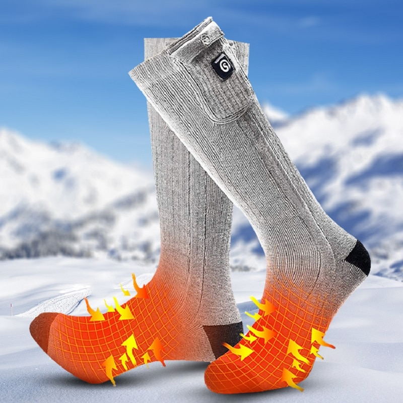 Winter Sports Skiing Rechargeable Electric Heated Socks 7.4V 2200mAh Battery Powered Thermal Socks for Camping Riding Hiking