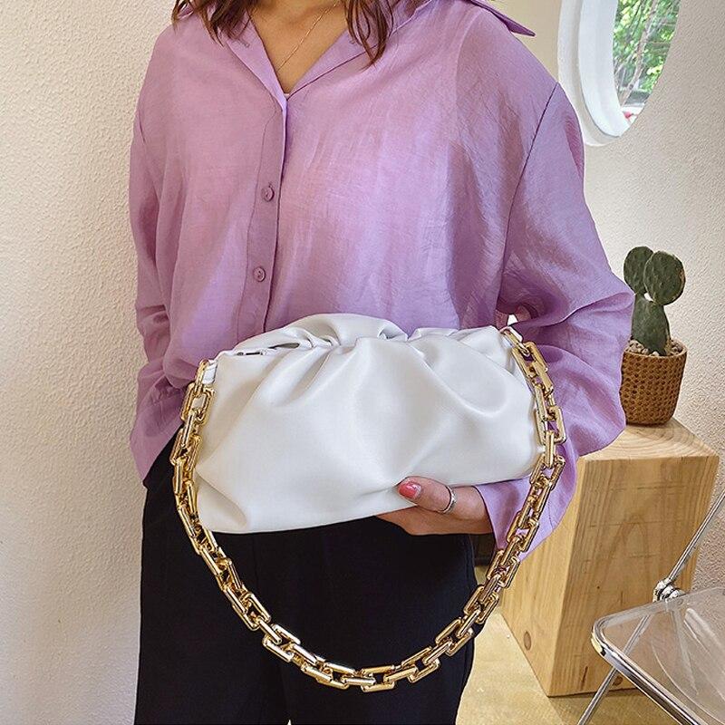 Women Shoulder Bag Gold Chain PU Leather Cloud Bag Summer Armpit bag Lady Handbags Female Solid Color Travel Hand Bag