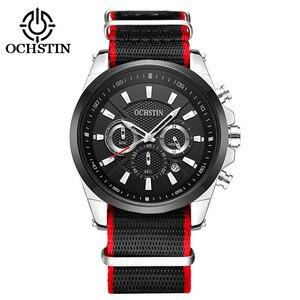 OCHSTIN New Men's Watches Top Luxury Brand Sport Quartz Watch Men Canvas Waterproof Wristwatch Leather Date reloj hombre 2021