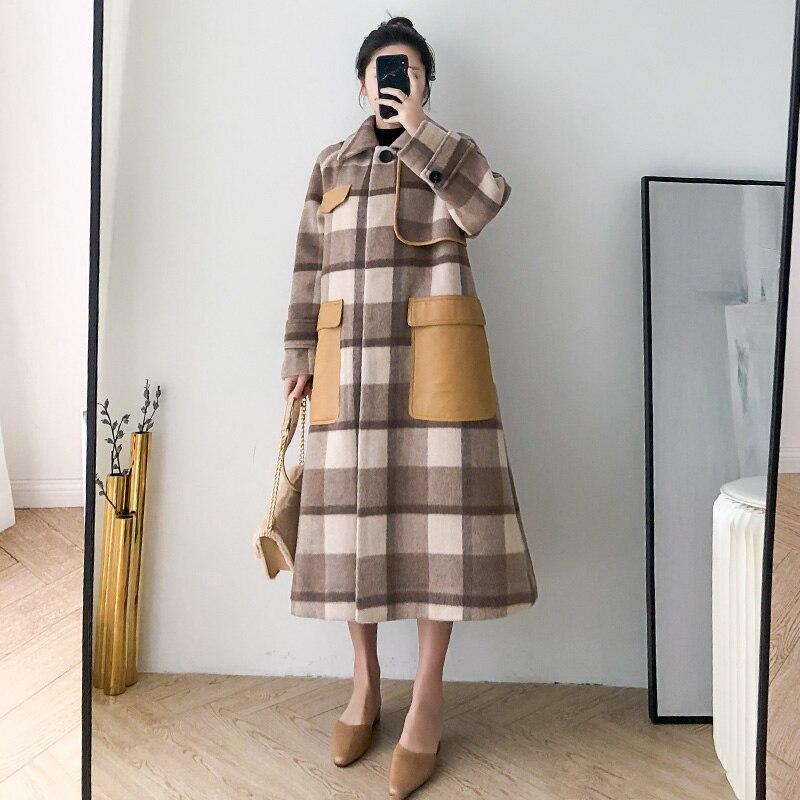 Abrigo de lana de invierno para Mujer, chaqueta para Mujer, ropa de 2020, Abrigo de lana largo coreano elegante para Mujer, Abrigo de Alpaca a cuadros para Mujer Hiver 81076