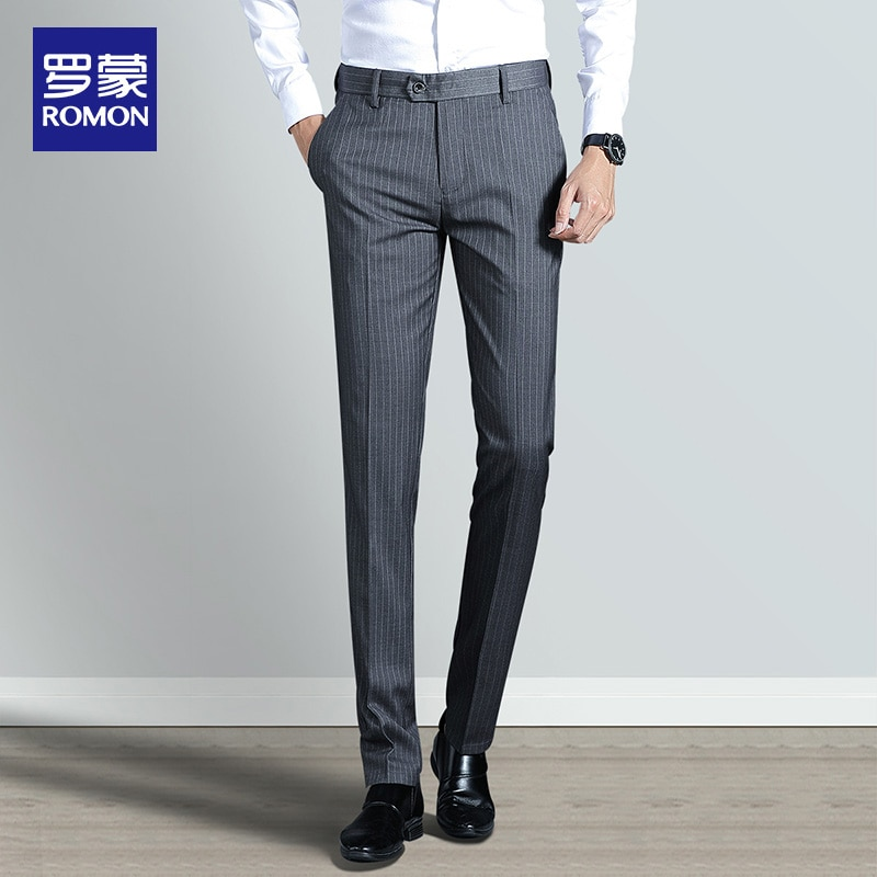 Men's Casual Pants Business Slim Fit Ankle Tight Business Suit Pants Youth Korean Trend Stripes Straight Trousers Men mens