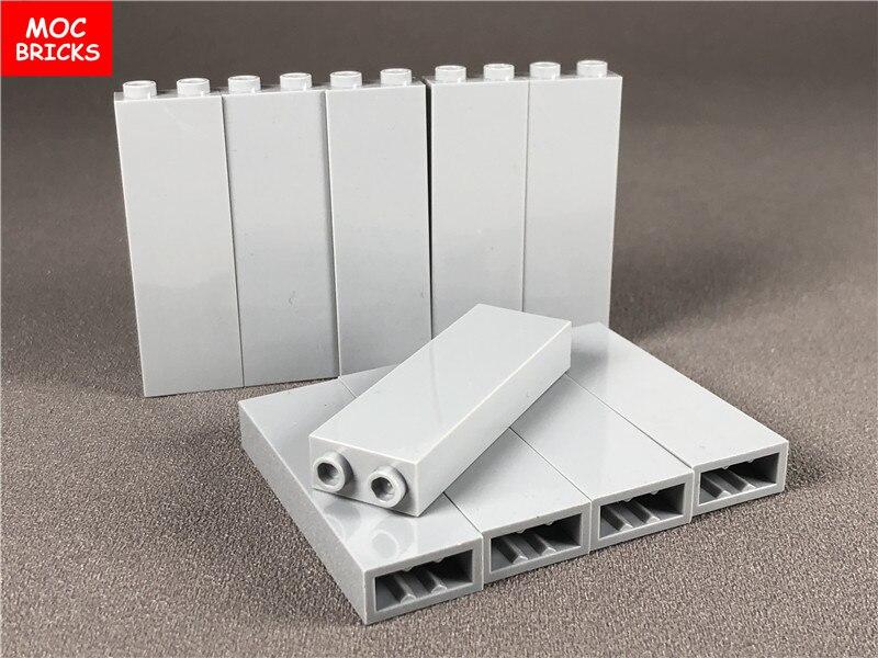 Lote de 100 piezas de ladrillos MOC de color gris claro, bloques altos 1x2x5 compatibles con 2454 DIY, bloques de construcción, juguetes para niños, regalo de Navidad