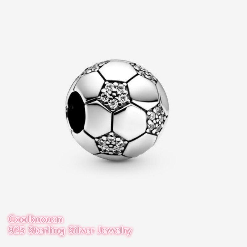 2020 primavera 100% Original 925 Sterling plata brillante cuentas del encanto del fútbol se adapta a Pandora pulseras fabricación de joyería