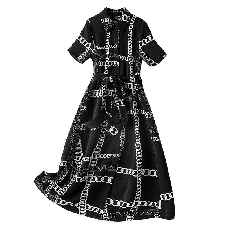 وصل حديثًا فستان شيفون أسود مقاس كبير بطباعة على الموضة الأوروبية لعام 2021 للسيدات
