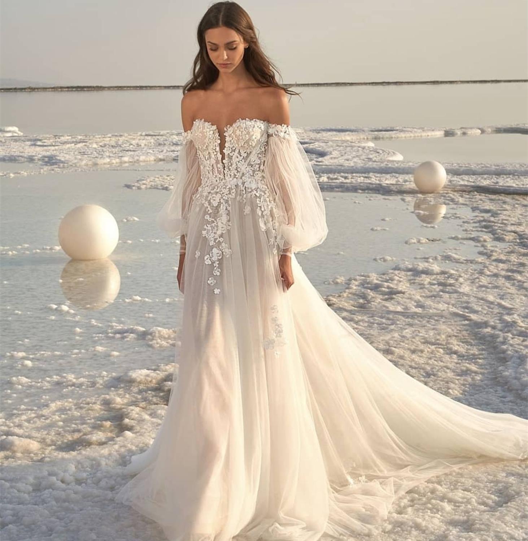 Vestido de casamento 2021 fora do ombro praia simples manga longa feito sob encomenda até o chão branco organza tule vestidos de noiva trem varredura