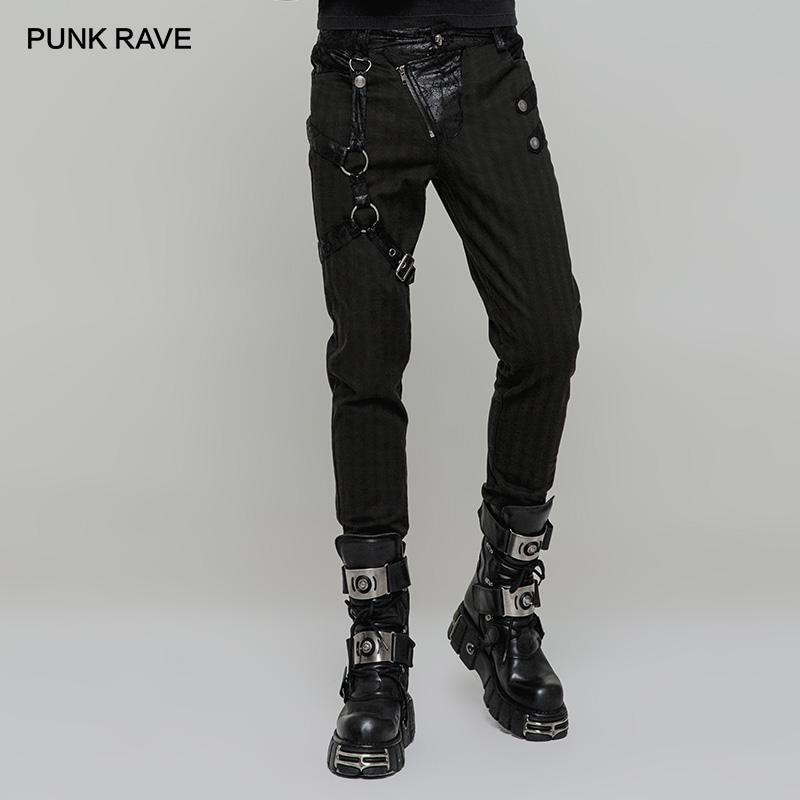 بنطلونات ضيقة من الجلد الصناعي ستيمبانك الهذيان الرجالي يمكن إزالتها بحلقة الساق اليمنى للرجال سراويل هيب هوب