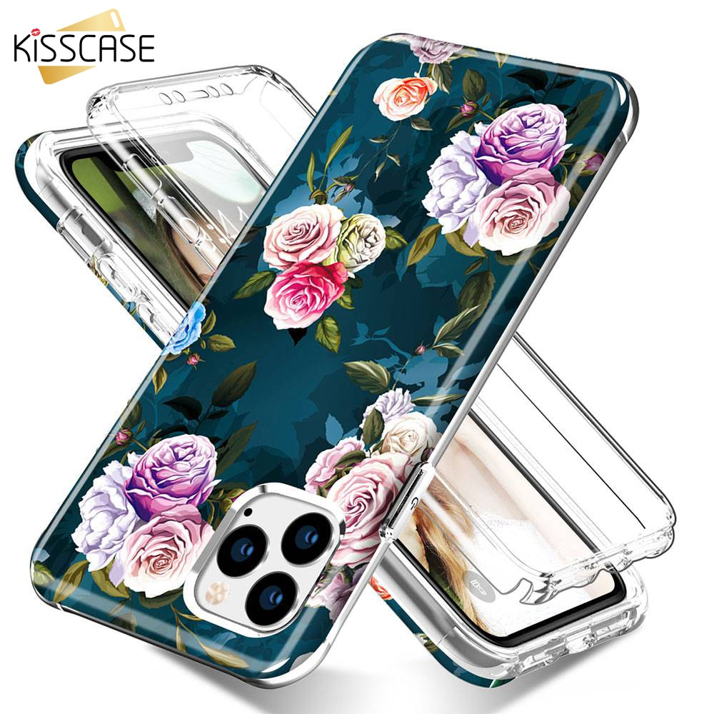 KISSCASE Floral 360 funda protectora completa para iPhone XS MAX X XR 8 7 funda Anti-Glitter amarillo para iPhone 11 Pro Max 11 fundas