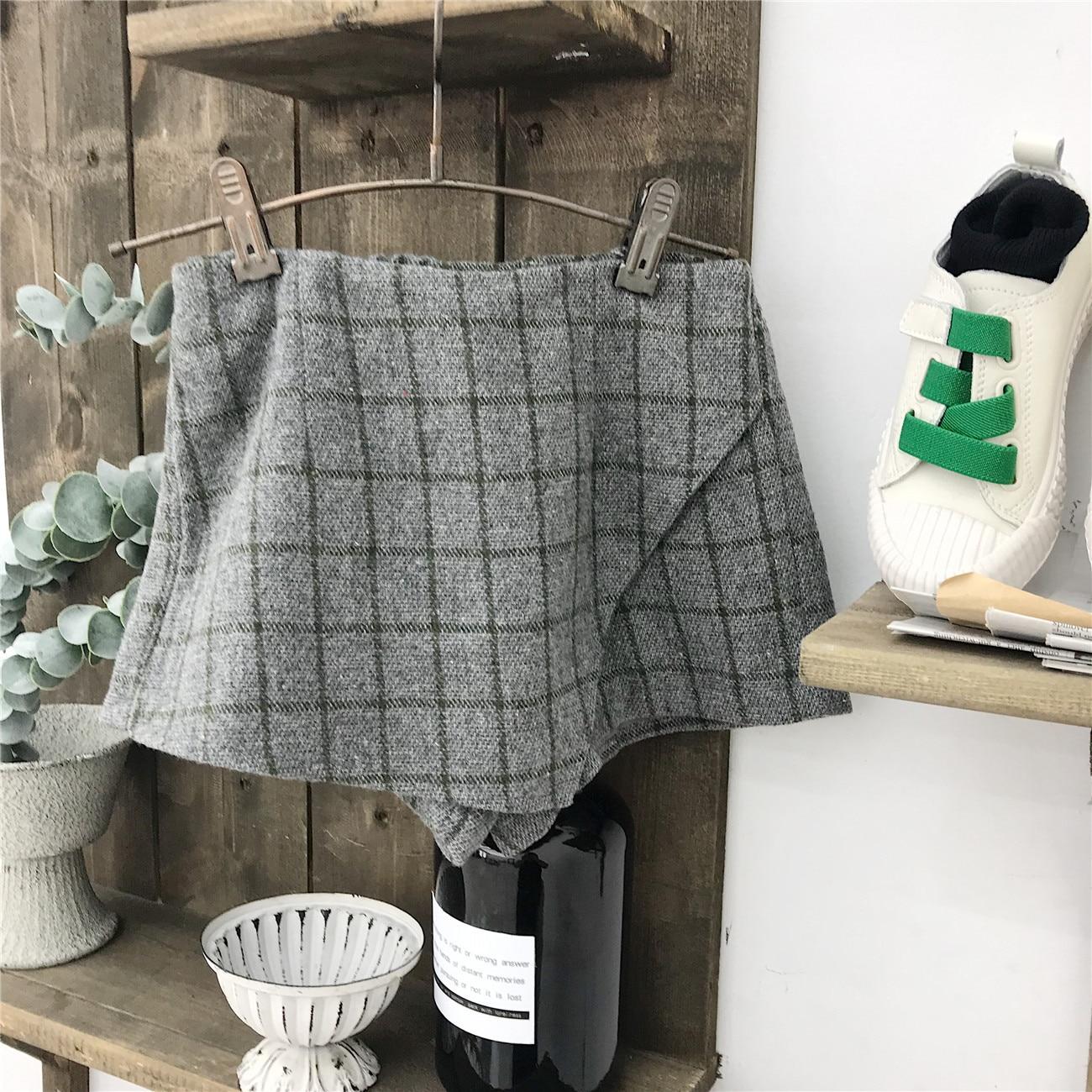 WLG-jupes de printemps pour filles   Jupe grise en laine, à carreaux, pour enfants de 1 à 5 ans