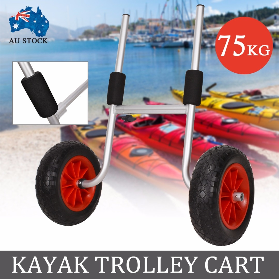 Carro transportador de Kayak de aluminio plegable para canoa plegable, transportador de bote, remolque de transporte, deporte acuático