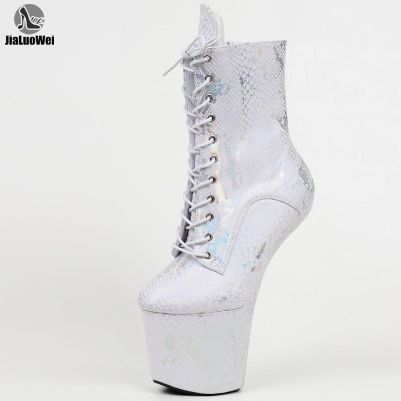 JIALUOWEI 8inch high heel Fetish heelless gothic lace-up platform hoof ballet patent ankle boots pole dance shoes
