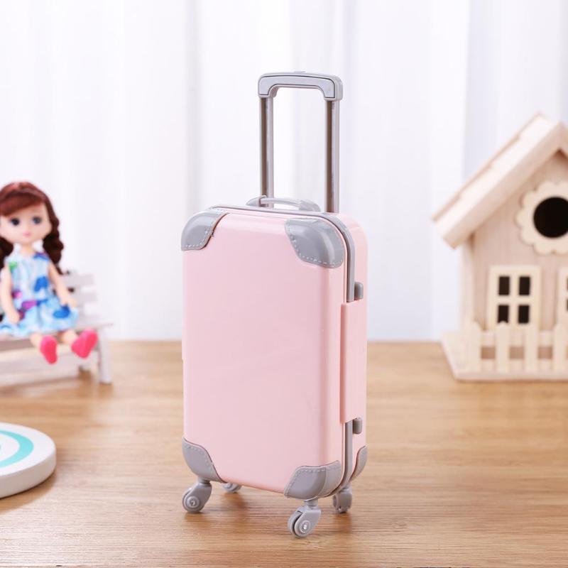 Mini maleta de plástico, accesorios para muñecas, muebles para muñecas, tren de viaje 3D, maletas, juguetes para niños, casa de juego, regalo para muñecas para niñas