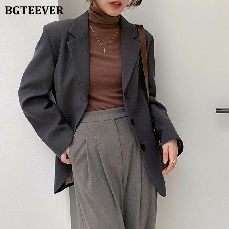 BGTEEVER-سترة مكتب فضفاضة أنيقة للنساء ، لون سادة ، ياقة متقاطعة ، أكمام طويلة ، ملابس خارجية أنيقة ، بدلة ربيعية