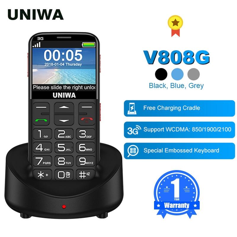 UNIWA V808G English Russian Keyboard 10 Days Standby 3G WCDMA Strong Torch Senior Push-Button Cellph