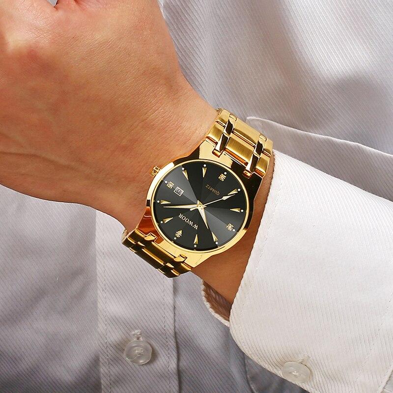 2020 WWOOR Diamond Watches For Men Dress Watch Top Brand Luxury Gold Mens Wrist Watch Quartz Date Clock Male Relogio Masculino
