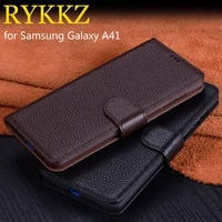 for samsung galaxy a41 luxury wallet genuine leather case stand flip card for galaxy a21s cases hold phone book cover bags