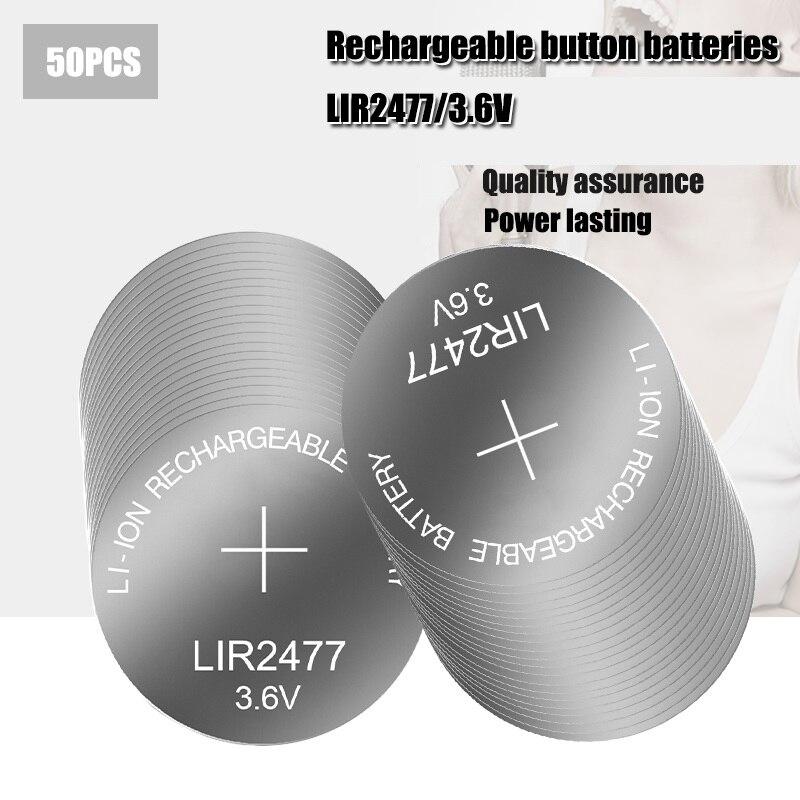 50 قطعة 3.6 فولت زر بطارية LIR2477 CR2477 بطارية ليثيوم 200mAh قابلة للشحن عملة خلية بطارية ل ساعة حاسبة أقراص
