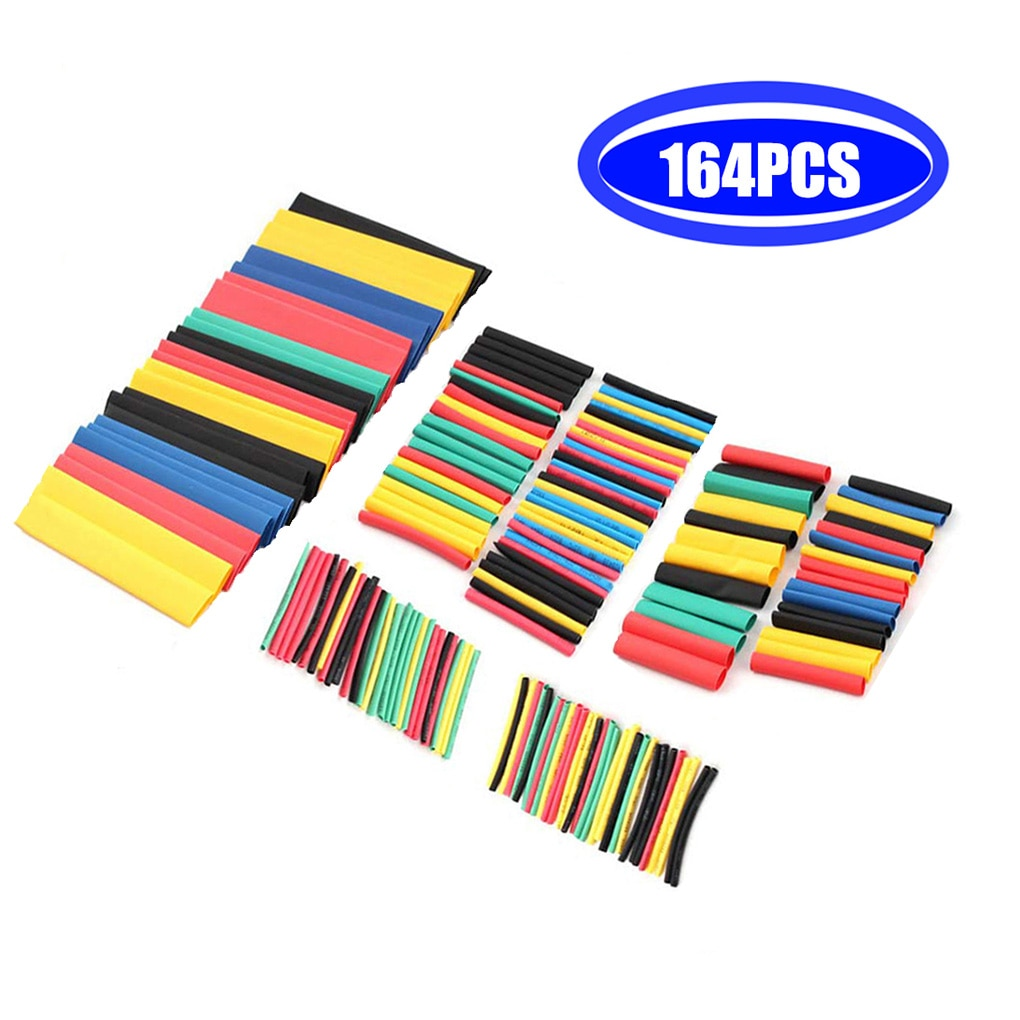 164Pcs Heat shrink tube kit Insulation Sleeving Polyolefin Shrinking Assorted Heat Shrink Tubing Wire Cable