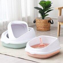 Pet Cat Toilet Plastic Semi-Enclosed High Fencedetachable Cat Litter Box Cat Toilet Dog Tray Clean Scoop Home Sand Box Supplies