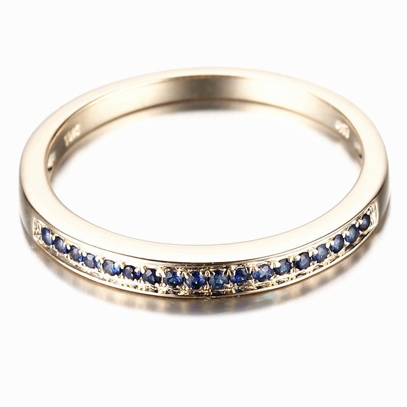 HELON-خاتم من الذهب الأصفر والياقوت 100% للنساء ، خاتم ، ذهب عيار 14 قيراط ، صلب ، هدية رومانسية ، مجوهرات الذكرى السنوية الجميلة