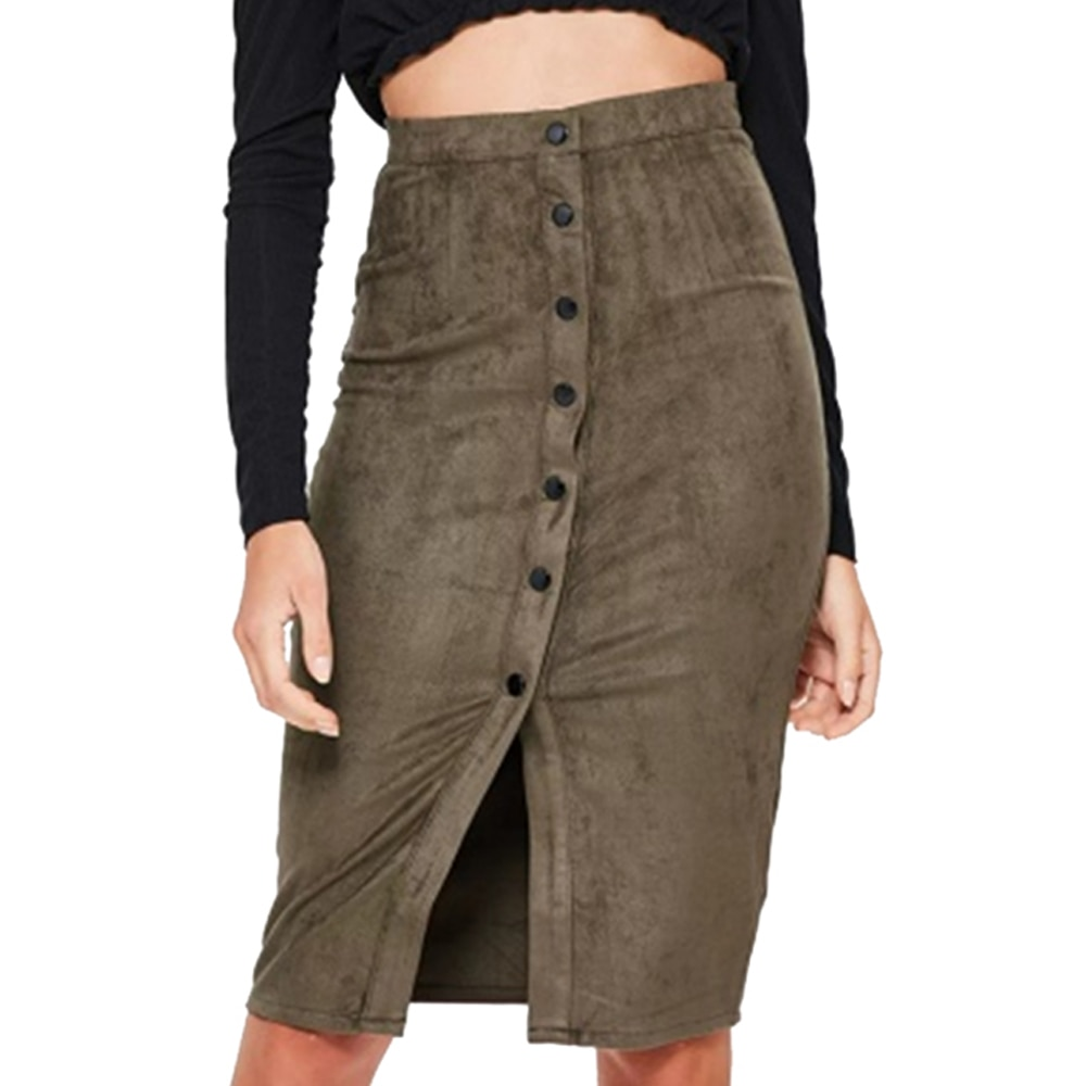 Women Pencil Skirt Spring Autumn 2020 Suede Knee-Length Skirts Fashion Girls Coffee Button Split Skirts Womens jupe femme Q30