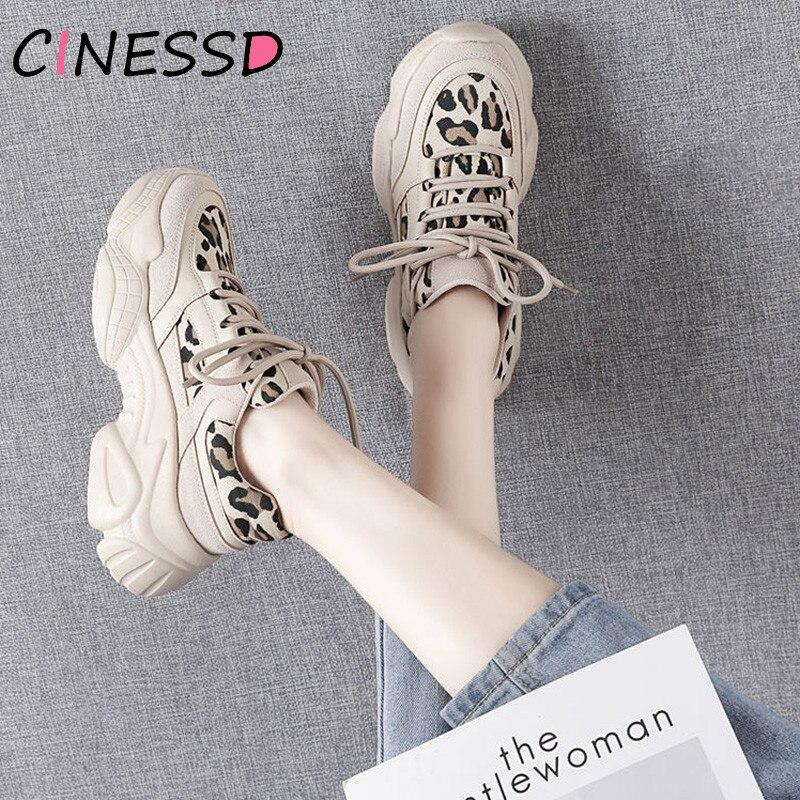 Leopardo impressão tênis sapatos 2019 formadores plataforma das mulheres chunky tênis formadores feminino sapatos casuais outono shoesbasket femme