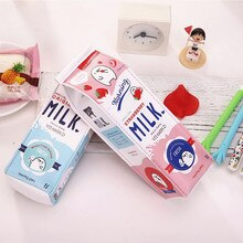 Kawaii Pencil Box Milk Pen Box Pencil case For Girls Boys Cute Korean Leather School Pencil Case Stationery Bag School Supplie