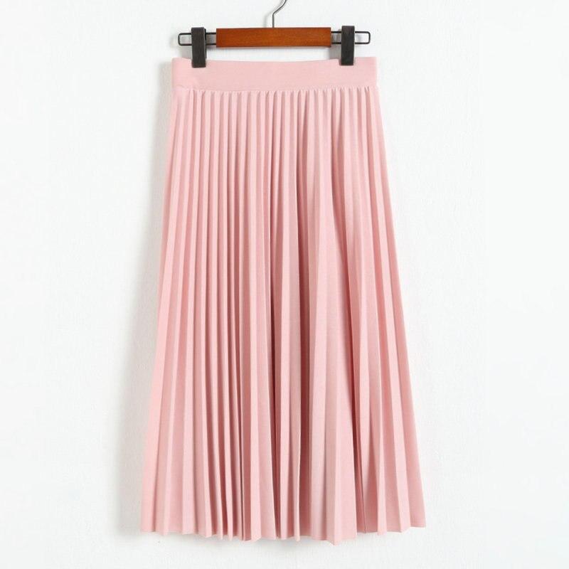Spring Summer Fashion Women Skirt 2021 Elastic High Waist Solid Half Length Pleated Skirts Ladies Black Pink Midi