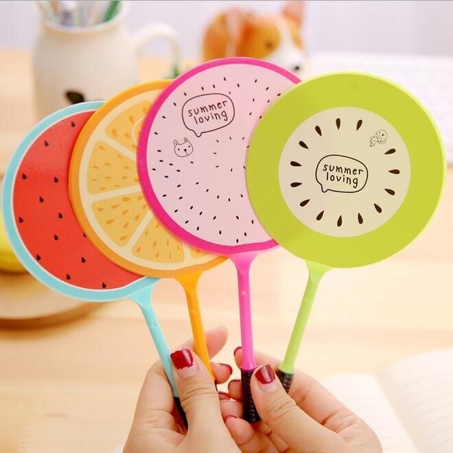 Lote de 4 unidades de minibolígrafo de Gel creativo con forma de abanico de frutas, minibolígrafo de sandía naranja, divertido regalo de los estudiantes, juguetes para niños, suministros de oficina y escuela