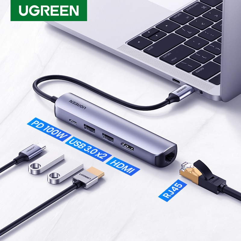 UGREEN USB C محور البسيطة حجم USB نوع C 3.1 إلى 4K HDMI RJ45 USB 3.0 محول USB C حوض ل ماك بوك برو ماك بوك الهواء 2020 قطعة USB Hub