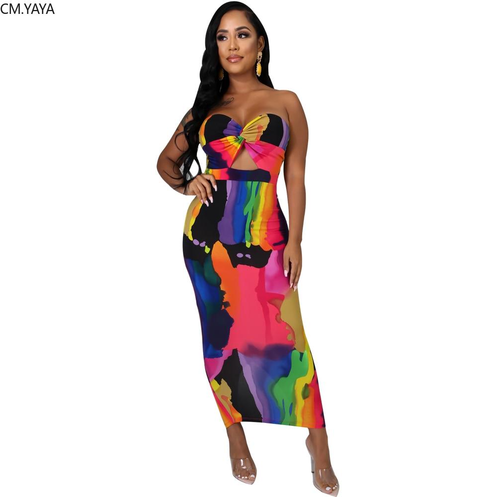 2020 verano mujeres largo Maxi vestido sin tirantes Tie-tinte dibujo Night Club Party Sexy vendaje Street Casual Vestidos GL7078
