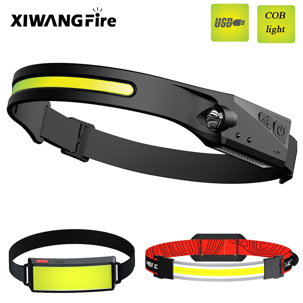 Mini COB LED Headlight with Built-in Battery Flashlight USB Rechargeable Head LampTorch Headlamp Portable Use New Style Lantern