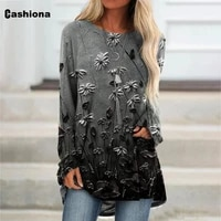cashiona plus size women elegant leisure casual long t shirt model flower print womens top 2021 summer tees shirt femme 4xl 5xl